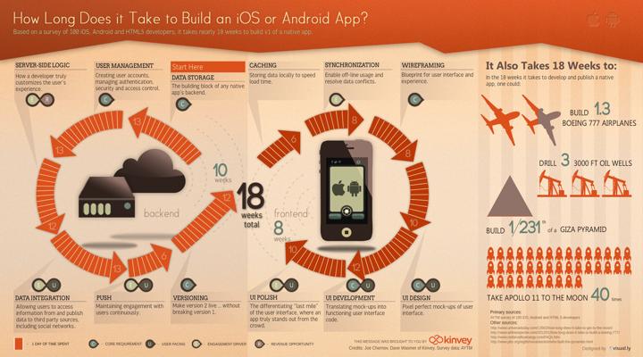 Инфографика по срокам разработки мобильного приложения