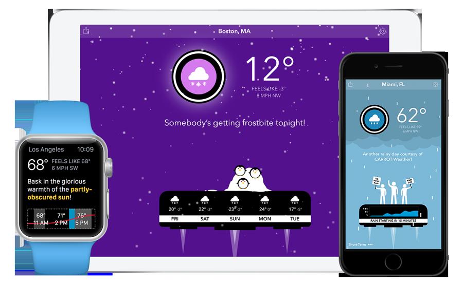 Мобильное приложение Carrot Weather