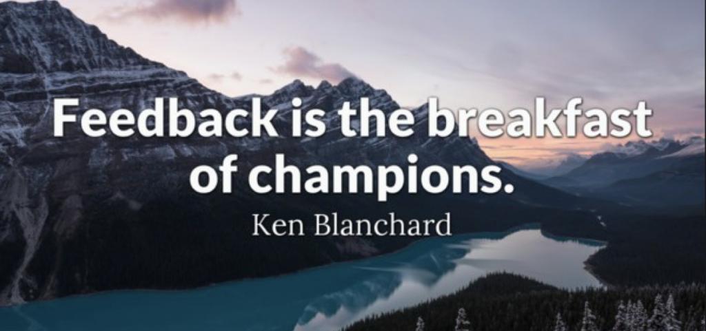 Цитата великого человека о том, что фидбэк - завтрак чемпионов