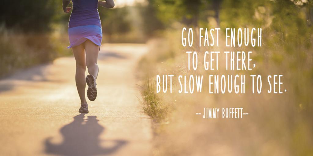цитата великого человека о том, что нужно двигаться достаточно быстро, чтобы добраться до места, но достаточно медленно, чтобы увидеть