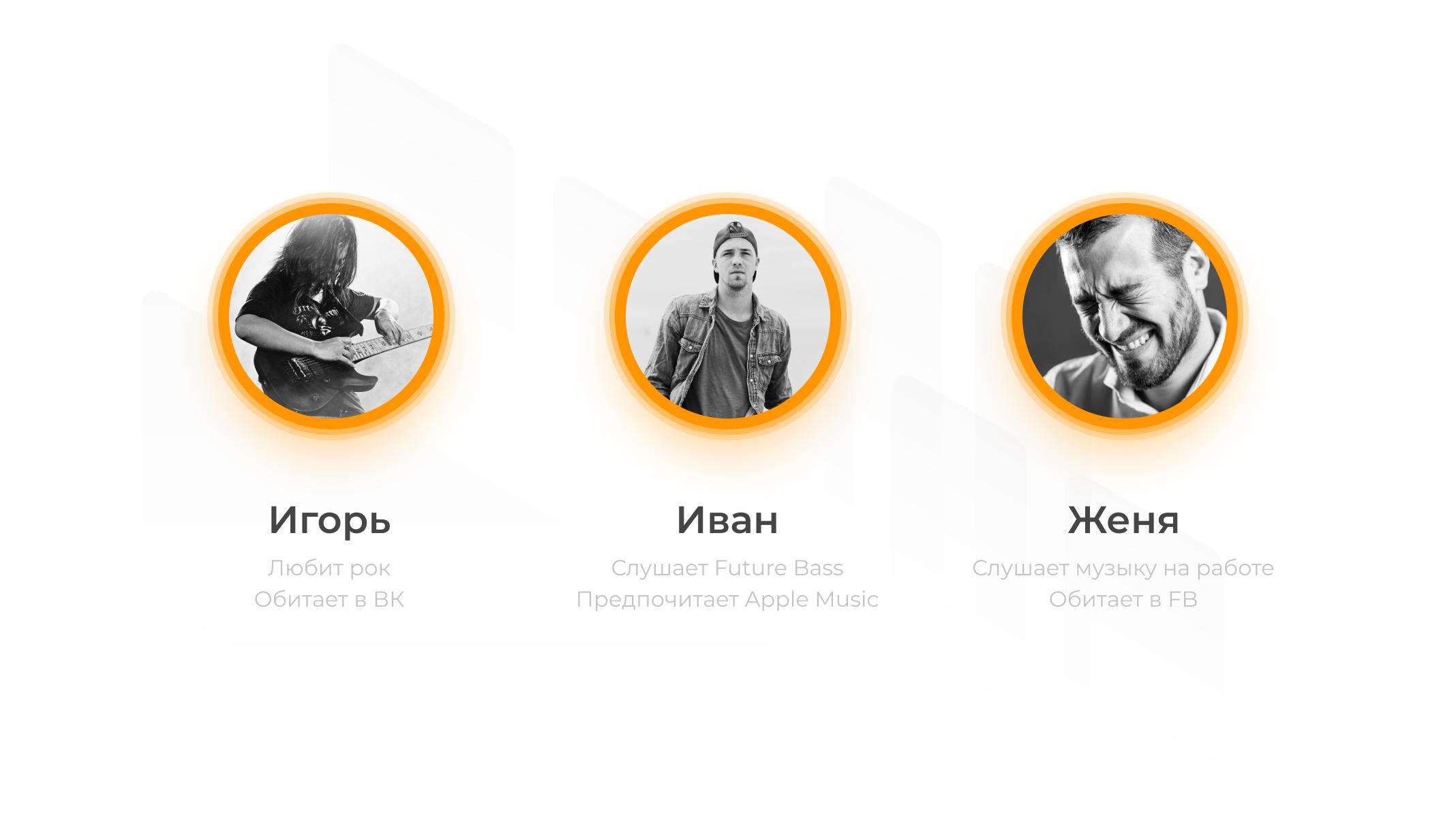 Пример выбора по методу персон для приложения связанного с прослушиванием музыки.  Игорь – любит рок, обитает в ВК Иван – слушает Future Bass. Предпочитает Apple Music. Женя – слушает музыку на работе. Обитает на Facebook.